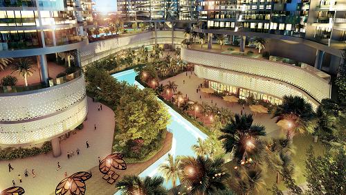 Toàn bộ lõi cảnh quan của Sunshine Diamond River được thiết kế theo tiêu chuẩn của một khu nghỉ dưỡng 5 sao với những mảng xanh của cây cối và mặt nước đa dạng.