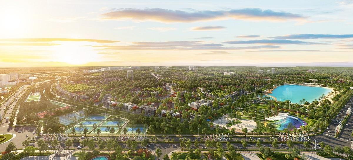 Tầm nhìn thu trọn bộ ba công viên liên hoàn 16,3 ha từ ban công căn hộ Sapphire Parkville.